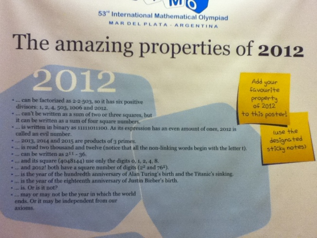 IMO 2012 poster listing various amazing properties of 2012