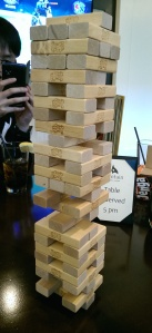 [Tall Jenga tower]