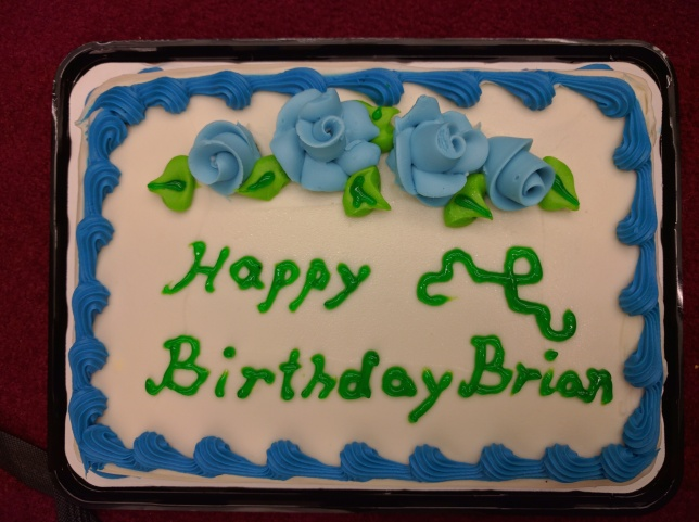 [birthday cake with dragon curve on it]